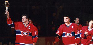 Pierre Turgeon and the Torch 300x147 Remembering Nos Glorieux   Farewell to The Forum