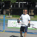 Mr. Geoff Molson, Owner of the Montreal Canadiens playing some ball.
