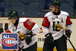 Martin Frk and Nathan MacKinnon of the Mooseheads.