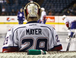mayerham 300x229 Marlies vs Bulldogs: Mayer Backstops Dogs to Home Opener Win