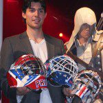 Carey Price and the three masks designed for Ubisoft.