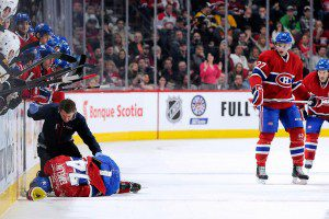 165873201 slideEmelinhurt 300x200 Bruins vs Canadiens Recap: Eller, Galchenyuk, Prust Set the Tone