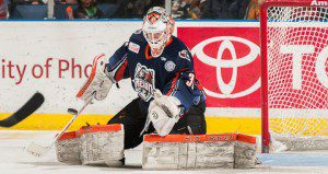 Condon's debut in a Bulldogs sweater was a success, despite the loss (PHOTO: Ontario Reign)